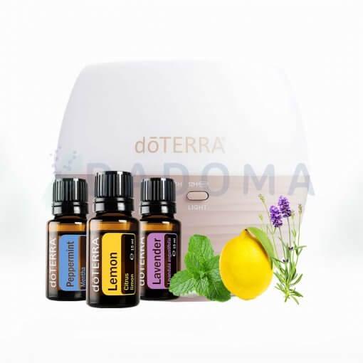 Difuzer Petal a trio esenciálnych olejov doTERRA (levandula, citrón, matový olej) aromaterapia, alergia, 3x15ml Dadoma.sk